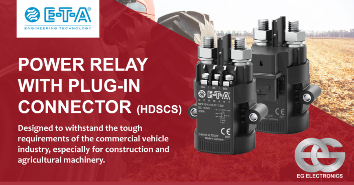 Power relay with plug-in connector agriculture and construction